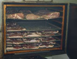 Meat in the smoker oven